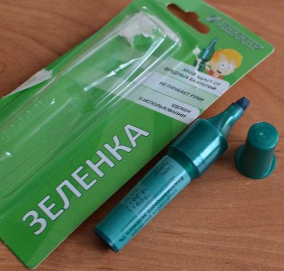 фото карандаша с зеленкой