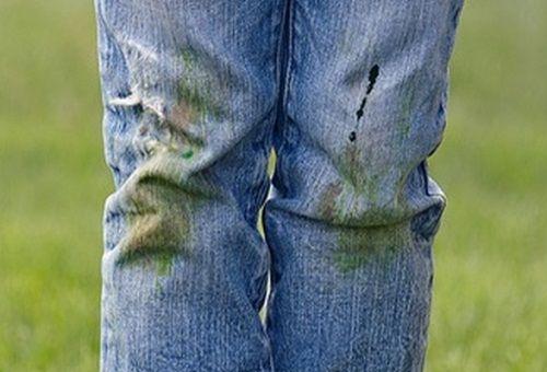 фото травы на джинсах