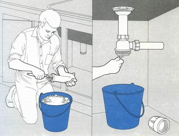 фото чистки сифона раковины на кухне