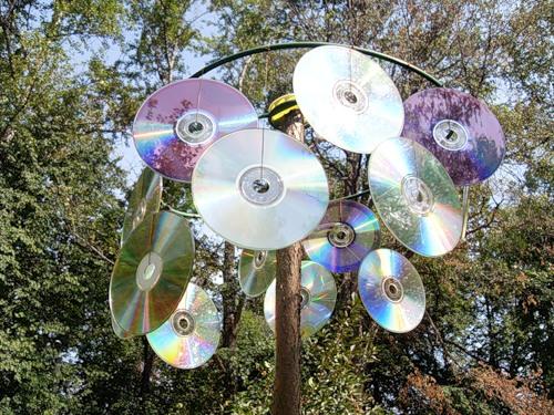 фото блестящих дисков для отпугивания голубей