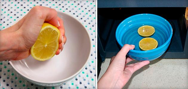 фото устранения запаха в микроволновке с помощью лимона