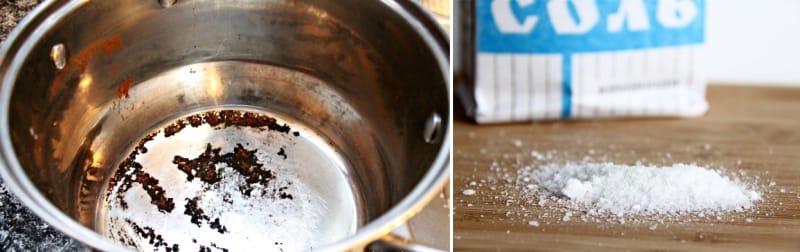 фото очистки пригоревшей кастрюли солью