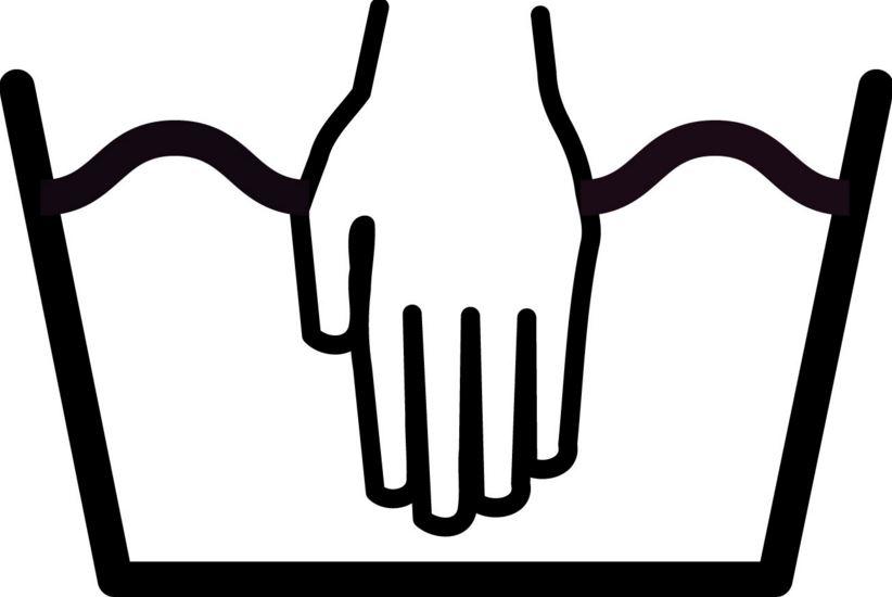 фото значка ручной стирки на одежде
