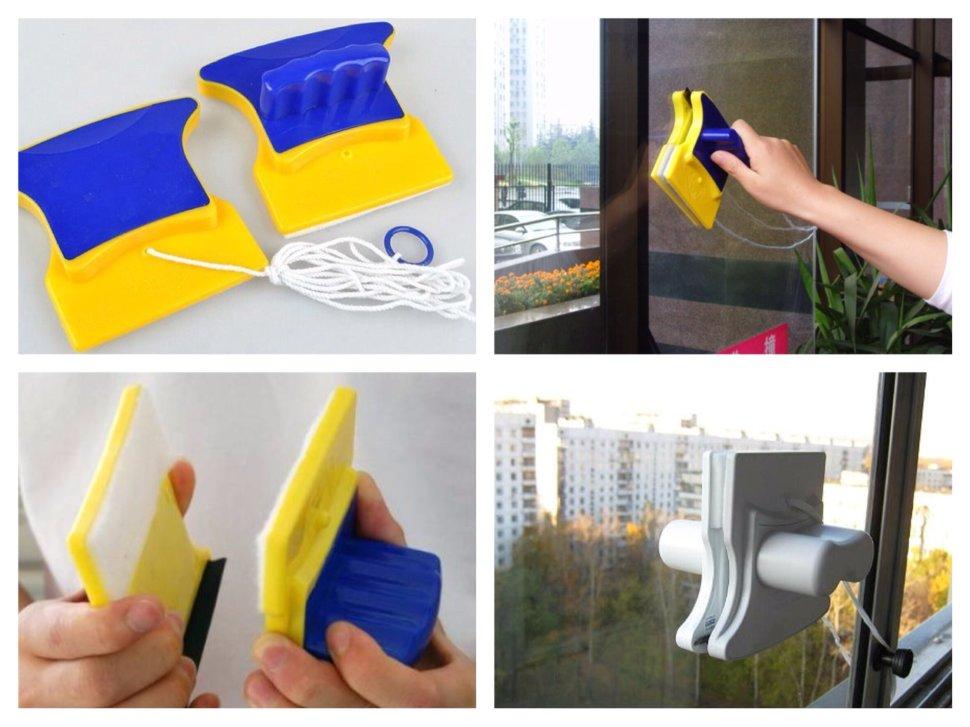фото магнитной губки для мытья окон